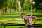 Man having physical training — Stock Photo