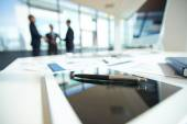 Office table with ballpoint pen — Stock Photo