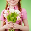 Girl with tulips bouquet — Stock Photo #58581105