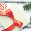 Christmas lollipop, conifer and card — Stock Photo #58584481