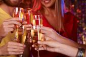 Friends toasting with champagne — Stock Photo