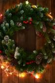 Christmas wreath with  garlands — Stock Photo