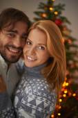 Couple on Christmas evening — Stock Photo