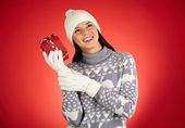 Girl with Christmas gift box — Stock Photo