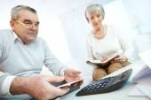 Senior people planning home finances — Stock Photo