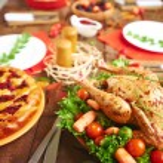 Roasted turkey on served table — Stock Photo #59963079