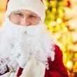 Santa Claus showing silence gesture — Stock Photo #59964649