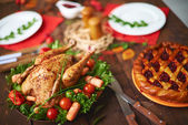 Pastry and roasted poultry — Stock Photo