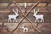Wooden Christmas symbols — Stock Photo