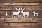 Wooden deer kissing — Stock Photo