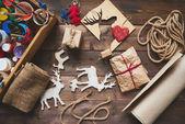 Christmas gifts and symbols — Stock Photo