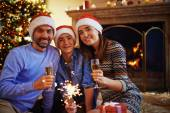 Rodina na Štědrý večer — Stock fotografie