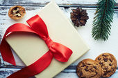 Christmas gift bow with red bow — Stock Photo