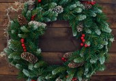 Christmas conifer wreath — Stock Photo