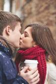Amorous young couple kissin — Stock Photo