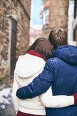 Back view of couple in winterwear — Stock Photo