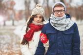 Young dates in stylish winterwear — Stockfoto