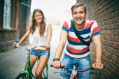 Couple on bicyclists — Stock Photo