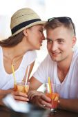 Guy and his girlfriend in cafe — Stock Photo