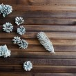 Frosty pinecones on wooden — Stock Photo #62858995