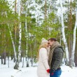 Sweethearts   in winter forest — Stock Photo #62859421