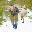 Guy running from girlfriend — Stock Photo #62859475