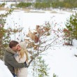 Couple having date in winter park — Foto Stock #62859491