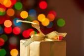 Golden Christmas giftbox — Stock Photo
