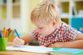 Schoolboy writing in copybook — Stock Photo