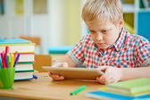 Schoolboy with touchpad at lesson — Foto de Stock