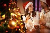 Coppie felici in Protezioni di Santa — Foto Stock