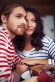 Girlfriend and boyfriend  in cafe — Stock Photo