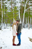 Amorous couple in winterwear — Stock Photo