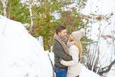 冬の森を受け入れるカップル — ストック写真