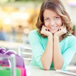 Woman having rest after shopping — Stock Photo #62860473