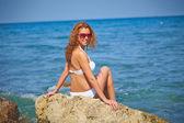 Donna al mare — Foto Stock