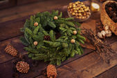 Christmas coniferous wreath — Stock Photo