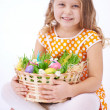 Girl with basket full of eggs — Stock Photo #63887953