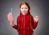 Girl with the US flag — Stock Photo