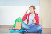 Youngster having snack — Stock Photo