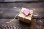 Giftbox with small heart — Stock Photo