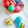 Basket with colorful Easter eggs — Stock Photo #66456973