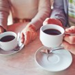 Cups with hot coffee — Stock Photo #66457137