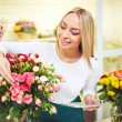 Florist taking care of flowers — Stock Photo #66458989