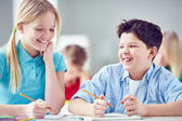 Happy elementary learners — Stock Photo
