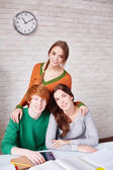 Portrait of three groupmates — Stock Photo