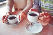 Cups with hot coffee — Stock Photo