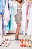 Choosing clothes and shoes — Stock Photo
