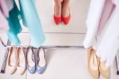 Row of stylish shoes — Stock Photo
