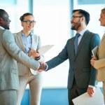 Happy businessmen handshaking — Stock Photo #69404051